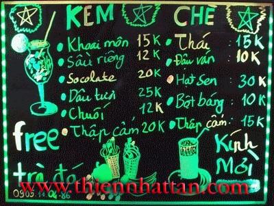 bảng menu huỳnh quang